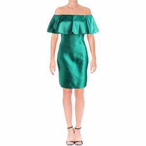 Adriana Papell green off the shoulder ruffle dress